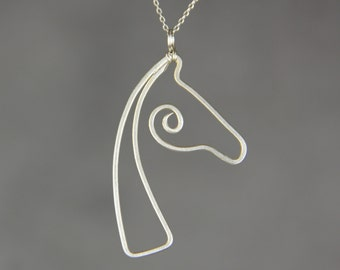 Sterling silver horse pendant necklace Free US Shipping handmade Anni designs