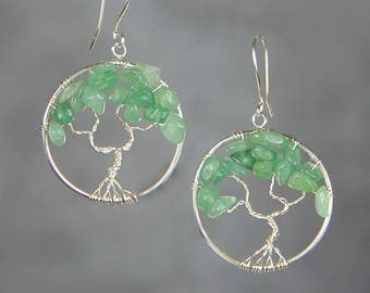 Tree of life jade hoop dangle earrings Bridesmaids gifts Free US Shipping handmade Anni Designs