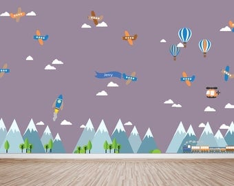 Mountain Decal, Mountain Scene Decal, Boys Plane Decal, Kids Wall Decalsm HUGE DECAL, Ecofriendly No Toxins No PVCs Decals, WDm471hba