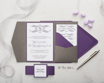 Eggplant & Dark Grey Wedding Invitation suite, Dark Purple Wedding Invitations, Amethyst Wedding Invites, Plum Wedding Invitation, Rosie