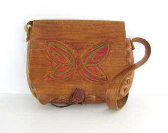 70s Boho Leather Butterfly Saddle Bag - Vintage 1970s Large Festival Purse