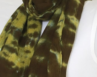 Moss Green Tie Dye Rayon Scarf w Fringe