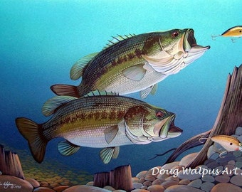 Fish Print, Largemouth Bass Painting Lure Water Acrylic Limited Edition Wildlife Art Freshwater Fishing Underwater scene by Doug Walpus