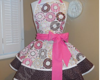 Donut Print Woman's Retro Apron With Tiered Skirt And Bib...Plus Size Available
