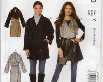 Loose Fitting Unlined Wrap Vest And Coat With Length Variations Size Xsml Sml Med Sewing Pattern 2016 McCall's 7480