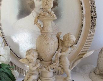Antique/vintage French superb table lamp, two cherubs.  Paris apartment, cottage chic. Signed.