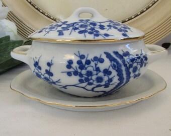 Vintage French porcelain mustard pot.