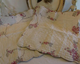 Vintage French PAIR of  gorgeous large square quilted pillow, cushion covers.  Country cottage chic.