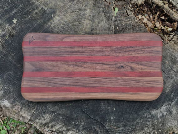 Cheese board made from bloodwood and walnut woods