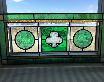 Stained Glass Art Panel|Transom|Vintage Plates|Shamrock|Irish|Green and Gold|Clear|Celtic Glass Window|Glass Art|Handcrafted|Made in USA