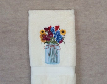 Texas Wildflowers in Mason Jar machine embroidery on cream hand towel