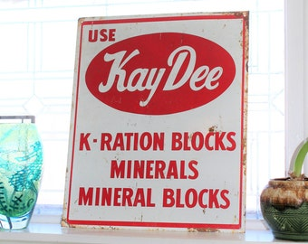 Vintage Tin Farm Sign Kay Dee K Ration Blocks Red and White