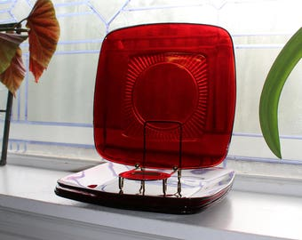 4 Royal Ruby Red Glass Plates Square Charm Vintage 1950s