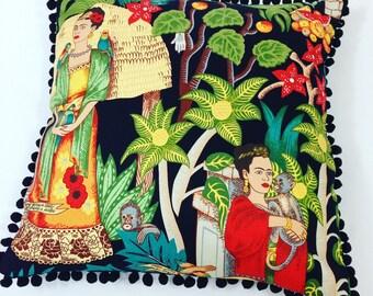 Frida Pillow with Pom Poms