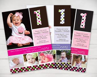 So Fun Polka Dots 1st Birthday Invitation (Girl) - Digital File
