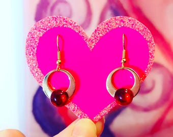 Sailor Moon inspired Gold and Red Dangle Earrings