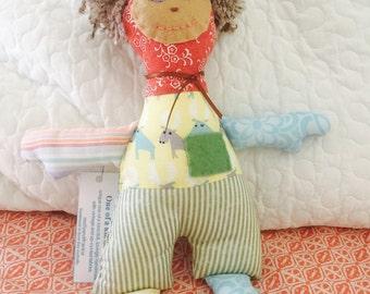 Boy Doll, Fabric Cloth Doll, Unique One-of-a-kind Doll