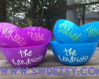 Personalized POPCORN Bowl Set, Ice Cream Bowls, Serving Bowls, Teacher Gift, Fathers Day Gift, Hostess Gift