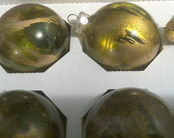 Green and Gold Hand Designed Christmas Ornaments