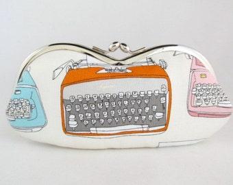 Typewriter Eyeglass Case - Cute Glasses Case - Eye Glass Case - Sunglasses Case - Case for Glasses - Sunglass Case - Kiss Lock Purse