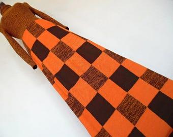 SALE :) TANGERINE CHESS . Stylish Knit Woven Print Geometric Op Art Graphics Maxi Dress Xs/S 70s Orange Brown