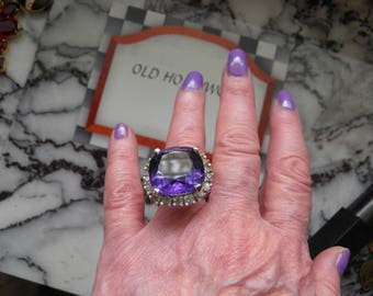 Large Old Hollywood Simulated Amethyst and Diamond Ring.  Signed Panetta, Sterling