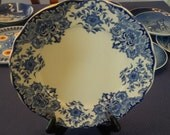 Antique Dordrecht B.F.K. Flo Blue Collectors quality dinner plate Made in Belgium-Vgc - Cobalt & White Entree China with Floral edges 1900's