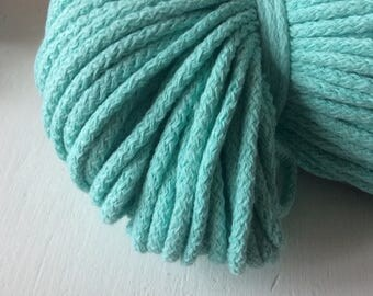 Cotton cord 5 mm / cotton rope for crochet / mint green cotton cord / thick cord for knitting / oversized knitting