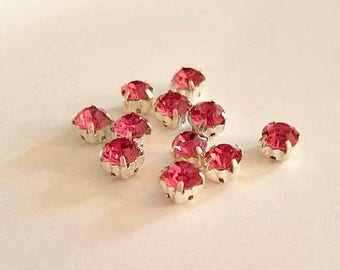 6mm Sew On Bright Pink Rhinestones. 6mm Glass Buttons. 10 Pieces.