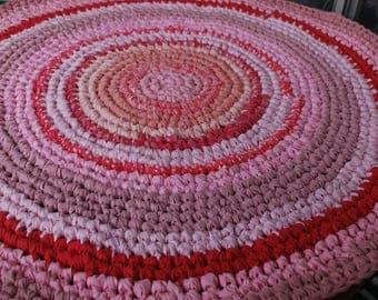 Pink  handmade circle rug