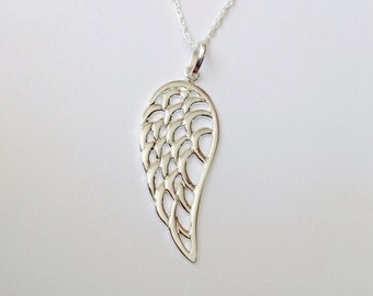 Angel Feather necklace, Wing pendant, Feather Necklace, little black dress jewelry - Sterling Silver (925)