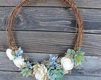 Artificial Succulent Sola Flower Wreath, home decor, house warming, wedding, rustic home