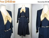 BOXING WEEK SALE 1920's Flapper Era Navy and Cream Silk Day Dress with Matching Jacket / Antique Silk Day Dress / Great Gatsby Dress / Board