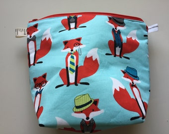 Serious Foxes Sock Wedge Zippered Pouch Project Bag In Stock, Ready to Ship