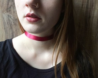 Maroon Red Ribbon Choker Necklace