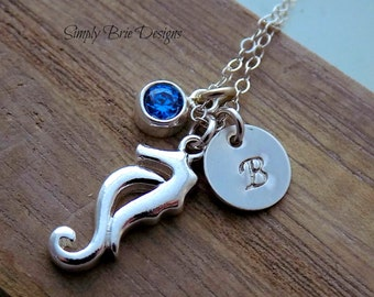 Seahorse Necklace Sterling Silver Blue Cubic Zirconia Charm Personalized Initial Nautical Ocean Inspired Jewelry Cruise Wear Beach