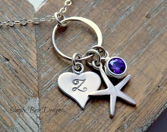 Personalized Starfish Necklace Sterling Silver Tiny Amethyst CZ Charm Beach Jewelry Heart Initial Necklace Hammered Eternity Circle