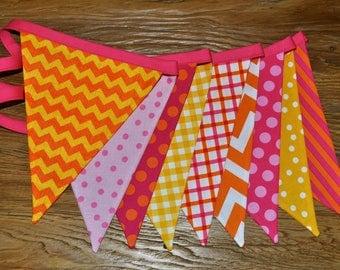 Pink, Orange, & Yellow girls fabric banner bunting, Sunshine birthday party decoration, cake smash photo prop, girls room dorm decor