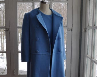 Vintage Cornflower Blue Mod Wool Mini Dress and Coat/Vintage 1960s/Double Knit Dress Suit/Double Breasted Coat/Size Small