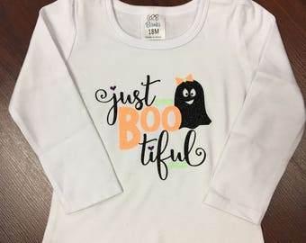 Just Boo-tiful girl's shirt, halloween shirt, fall shirt, girls halloween shirt, girls fall shirt.