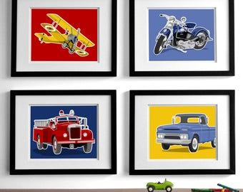 boy car and truck art childrens wall art, - set of four - fire truck motorcycle nursery art - art for boys wall art, boys nursery art