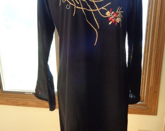 Vintage Black Silk Chiffon Tunic Top with Hand Sewn Embroidery and Beaded Floral Design in Very Good Condition, A Long Sleeve Top or Dress