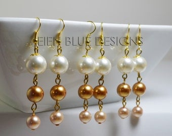 Gold Pearl Cascading Dangle Earrings, Ivory and Gold Pearl Earrings, Golden Pearl Earrings, Pearl Earrings, Gold and Champagne Earrings