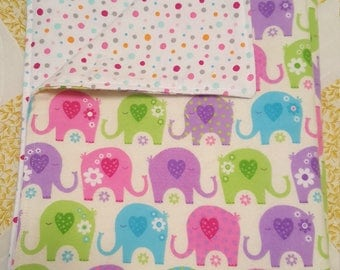 Flannel Baby Blanket Elephant Print Design Reversible - Ready to Ship