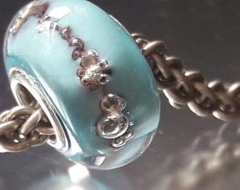 Pastel Bubbles- Big Hole Lampwork Glass Bead - large hole bead, european charm bracelets