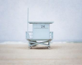 Lifeguard Stand Photo, Blue Beach Picture, Modern California Wall Art, Lifeguard Tower Photograph, Los Angeles Artwork, Living Room Art