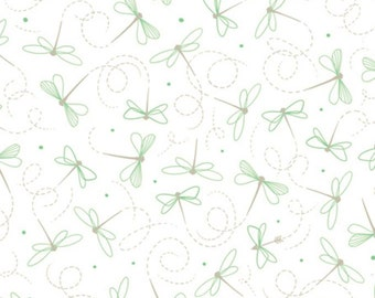 Ink & Arrow by Quilting Treasures - Little Buggers - Dragonflies - White