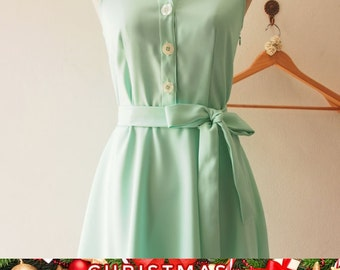 Christmas SALE DOWNTOWN - Mint Green Shirt Dress, Mint Bridesmaid Dress, Midi Dress Casual Dress, 1950 Inspired Dress, Vintage Party Dres...
