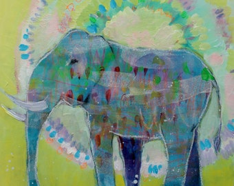 "Small Original Animal Totem, Elephant Painting Under 100, ""Elephant Guide"" 8x8"""
