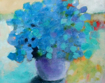 "Colorful Abstract Flaoral Painting, Blue Flowers, Modern Still Life, ""Bouquet of Hydrangeas"" 12x12"""
